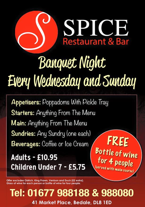 Spice Restaurant in Bedale Special Nights Menu